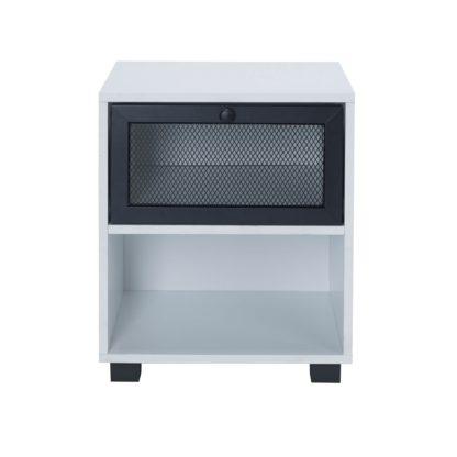 An Image of Black Metal Bedside Cabinet Black