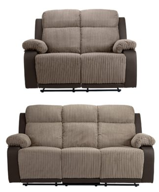 An Image of Argos Home Bradley 2 Seater & 3 Seater Recline Sofa -Natural