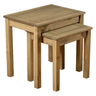 An Image of Panama Pine Nest of 2 Tables Brown