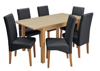 An Image of Habitat Clifton Oak Extending Table & 6 Black Chairs