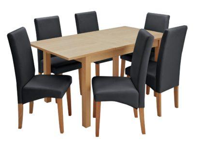 An Image of Habitat Clifton Oak Extending Table & 6 Black Chairs