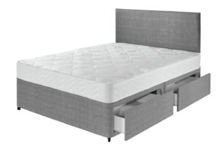 An Image of Argos Home Elmdon Comfort 4 Drawer Double Divan Bed - Grey