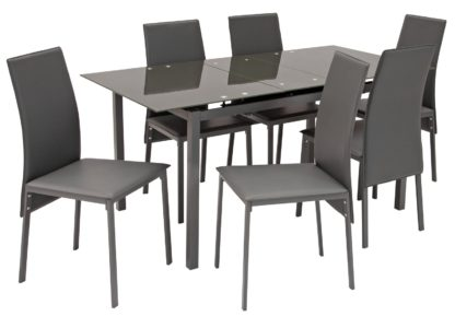 An Image of Argos Home Lido Glass Extending Dining Table & 6 Grey Chairs