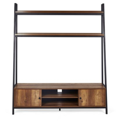 An Image of Fulton Ladder Shelf TV Stand Pine