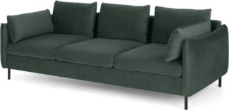 An Image of Vento 3 Seater Sofa, Autumn Green Velvet