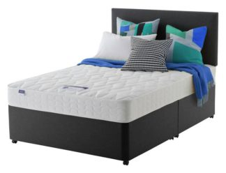 An Image of Silentnight Travis Microquilt Double Divan Bed - Charcoal