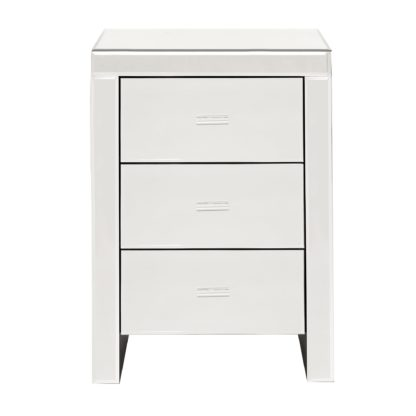 An Image of Venetian Mirrored 3 Drawer Bedside Table White