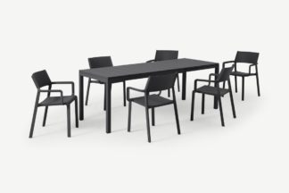 An Image of Nardi 6 Seat Extending Dining Set, Dark Grey Fibreglass, Resin & Aluminium