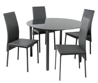 An Image of Argos Home Lido Glass Round Dining Table & 4 Grey Chairs