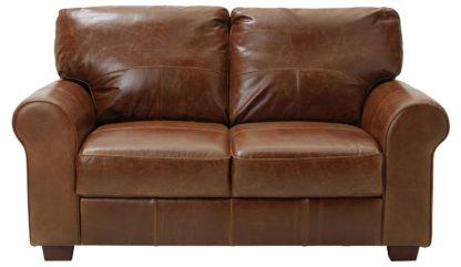 An Image of Habitat Salisbury 2 Seater Leather Sofa - Dark Brown