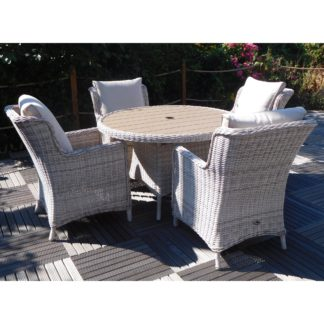 An Image of Seychelles Round 4 Seat Polywood Comfort Dining Set Cream