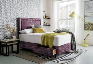 An Image of Silentnight Toulouse Velvet Double 2 Drawer Divan - Purple