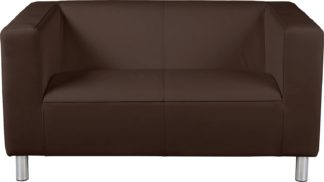 An Image of Habitat Moda Compact 2 Seater Faux Leather Sofa - Brown