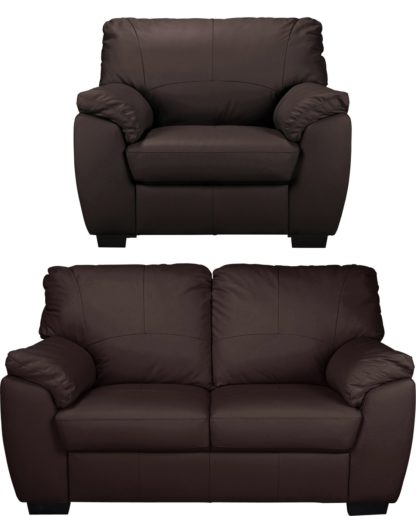 An Image of Argos Home Milano Leather Chair and 2 Seater Sofa - Ivory
