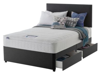 An Image of Silentnight Travis Small Double 4 Drawer Divan Bed -Charcoal