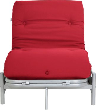An Image of Argos Home Single Futon Metal Sofa Bed with Mattress - Red