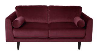 An Image of Habitat Jackson 2 Seater Velvet Sofa - Burgundy