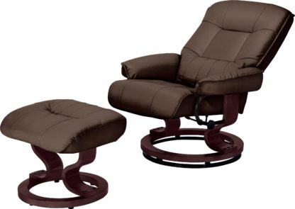 An Image of Argos Home Santos Recliner Chair and Footstool - Dark Brown