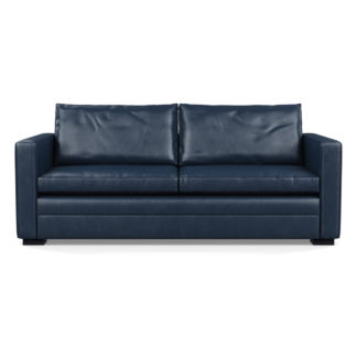 An Image of Heal's Palermo 3 Seater Sofa Leather Stonewash Navy Blue 279 Black Feet