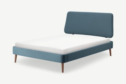 An Image of Lowrie Double Bed, Orleans Blue & Dark Stain Legs