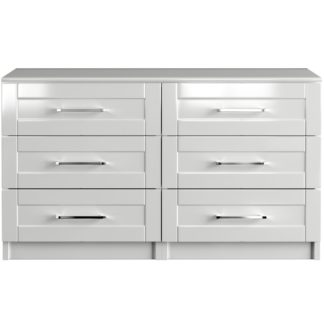 An Image of One Call Colby Gloss 3+3 Drawer Chest of Drawers - White