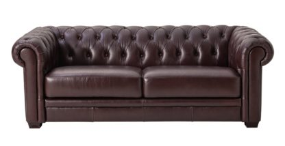 An Image of Habitat Chesterfield 3 Seater Leather Sofa - Black