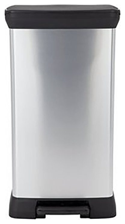 An Image of Curver 50 Litre Deco Pedal Bin - Silver