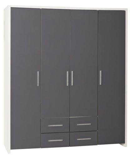 An Image of Habitat Broadway 4 Dr 4 Drw Wardrobe - Grey Gloss & White