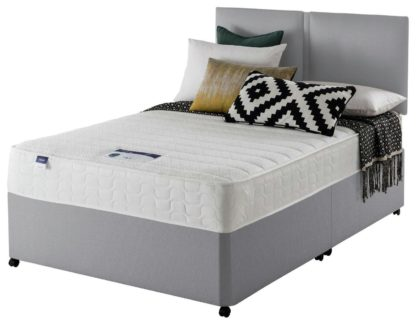 An Image of Silentnight Hatfield Microquilt Small Double Divan Bed -Grey