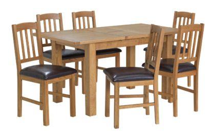 An Image of Habitat Ashwell Oak Veneer Extending Table & 6 Chairs