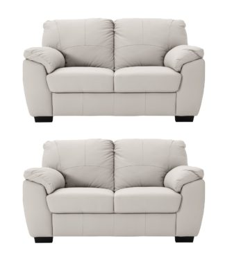 An Image of Argos Home Milano Pair of Leather 2 Seater Sofa - Light Grey