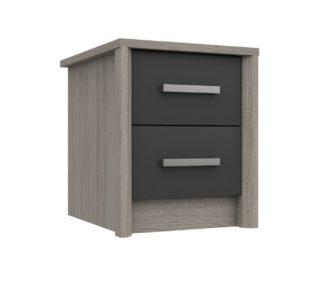 An Image of Grasmere 2 Drawer Bedside Table - Dark Grey