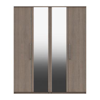 An Image of Parker Beige 4 Door Mirrored Wardrobe Dark Wood (Brown)