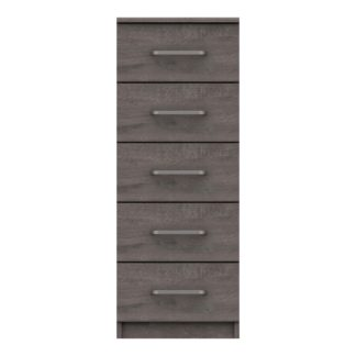 An Image of Parker Grey 5 Drawer Tallboy Dark Grey