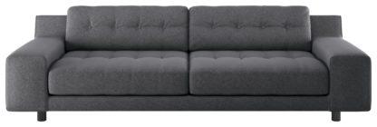 An Image of Habitat Hendricks 4 Seater Fabric Sofa - Charcoal