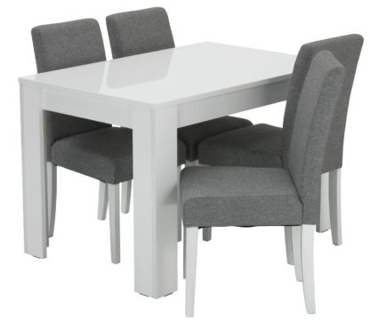 An Image of Habitat Miami White Gloss Table & 4 Tweed Chairs - Grey