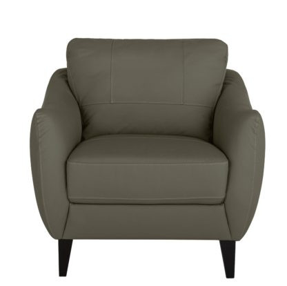 An Image of Argos Home Flynn Leather Mix Armchair - Grey