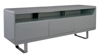 An Image of Habitat Sleigh 2 Door 1 Drawer TV Unit - Gloss Grey