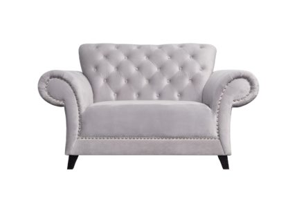 An Image of Argos Home Chelsea Velvet Cuddle Chair - Grey