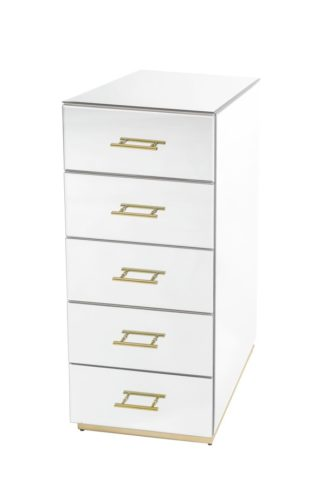 An Image of Harper Mirrored Tallboy – Champagne Gold Details