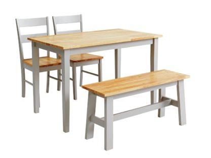 An Image of Habitat Chicago Solid Wood Table, Bench & 2 Grey Chairs