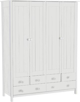 An Image of Habitat New Scandinavia 4 Door 6 Drawer Wardrobe - White