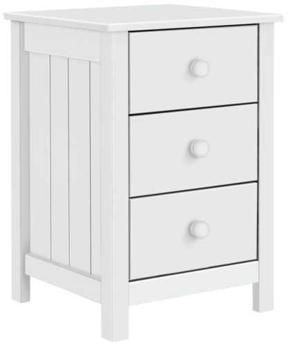 An Image of Habitat Scandinavia 3 Drawer Bedside Table - White