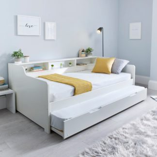 An Image of Tyler Single Guest Bed with Trundle and Orthopaedic Mattress - White White