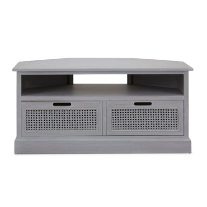 An Image of Lucy Cane Grey Corner TV Stand Slate (Grey)