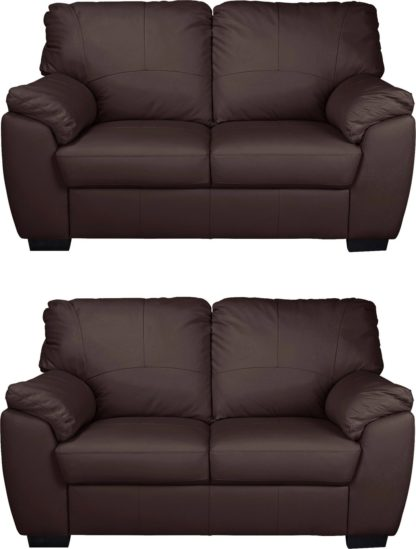 An Image of Argos Home Milano Pair of Leather 2 Seater Sofa - Ivory