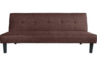 An Image of Habitat Patsy 2 Seater Fabric Clic Clac Sofa Bed - Brown