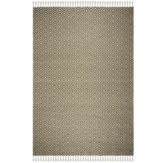 An Image of Sigrid Geometric Rug Green and White