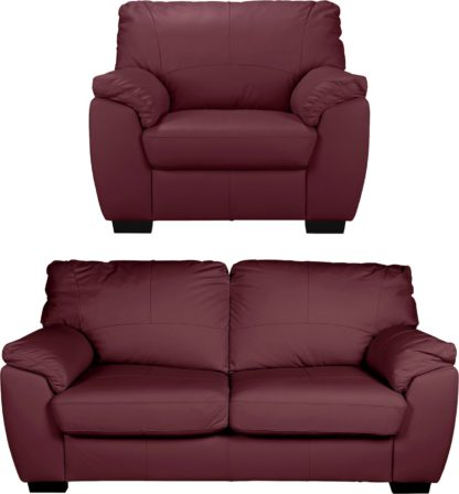 An Image of Argos Home Milano Leather Chair & 3 Seater Sofa - Chocolate