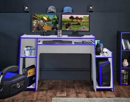 An Image of Virtuoso Horizon Gaming Desk - Blue and White
